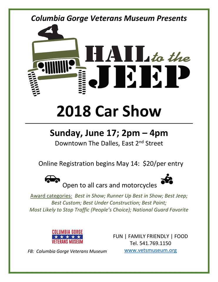 Columbia Gorge Veterans Museum Hail To The Jeep Car Show - Fun car show award categories
