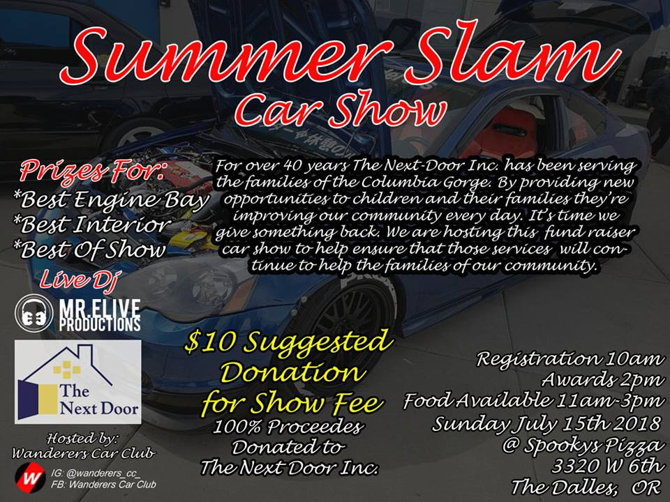 We Are Hosting A Charity Fund Raiser Car Show. 100% Proceeds Will Be  Donated To The Next Door Inc. They Have Served Our Community For For Over 4  Decades ...